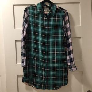 Sandro Long Sleeve Silk Shirtdress, Size 1, NWT